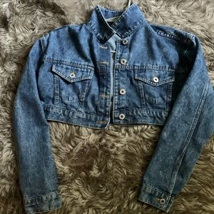 Short denim jean jacket.